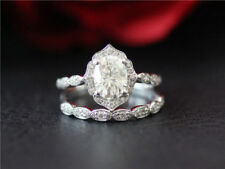 VINTAGE 1.70CT OVAL CUT DIAMOND BRIDAL SET ENGAGEMENT RING 14K WHITE GOLD OVER