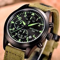 HOLUNS Mens Chronograph Waterproof Army Quartz Wrist Watch Luminous Canvas Band