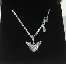 Genuine PANDORA Sterling Silver Pavé HEART & ANGEL WINGS Necklace 45cm S925ALE