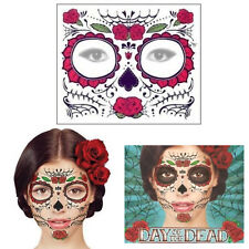 Day of the Dead Face Temporary Tattoo Transfer Mask Halloween Sugar Skull Roses