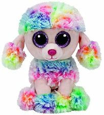 "Rainbow Poodle Beanie Boo Small 6"" Stuffed Animal By Ty (37223) Play Toy Soft Ne"