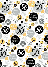 2 Sheets 50th Birthday Wrapping Paper Age 50 Wrap Gold Black  Male / Female (PA)