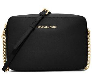 Michael Kors Jet Set Large EW Saffiano Leather Crossbody Bag in Black