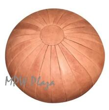 MPW Plaza Pouf, Deco, Sand, Moroccan Leather Ottoman (Un-Stuffed)