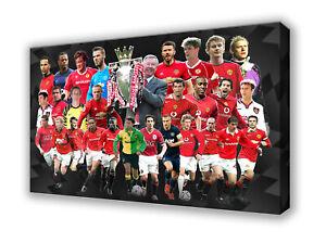 Manchester United - Premier League Heroes Wall Canvas Print Picture Art 63x40cm