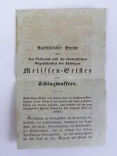 Historisches Zeitdokument Gebrauch des Melissen-Geistes o. Schlagwassers 19. Jh.
