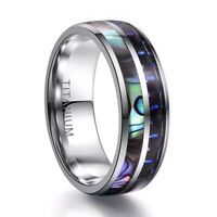 8mm Tungsten Carbide Ring Blue Opal Inlay Koa Abalone Shell Men Wedding Lldty