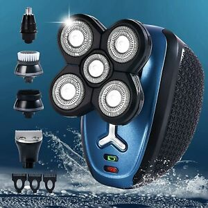5-in-1 Rotary Electric Shaver 4D Bald Head Hair Beard Rechargeable Trimmer Razor