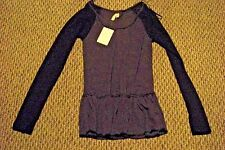 nwt womens free people black comb long sleeve shirt size small