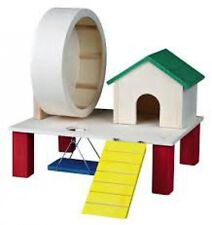 Trixie Hamster Gerbil Playground Play House Toy 61371 Wooden Wheel Ladder