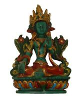 "Green Tara Tibetan Buddhist Resin Goddess Tara Statue Idol Figure Sculpture 6"""