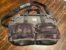 Tumi Camo Carry On Messenger Bag Satchel Leather Trim