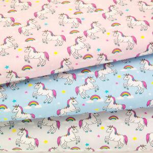 100% Cotton Fabric KIDS CHILDRENS UNICORN & RAINBOW PINK BLUE SILVER Material