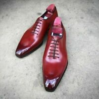 Handmade Men Burgundy Heart Medallion Lace Up Dress/Formal Oxford Leather Shoes