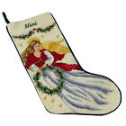 Lands End Wool Needlepoint Mimi Angel Christmas Stocking 18 Inch