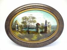 Antique Old Oval Wood Framed Reverse Painting on Glass Signed Art Artwork