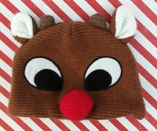 """Rudolph the Red Nosed Reindeer Hat / Baby Photo Prop / Infant Christmas / 16"""""""