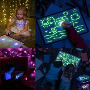 Kids Drawing Board 3D Magic Pad Draw with Light Fun Children's Brain Development