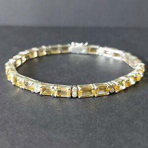 Beautiful 925 Sterling Silver & Natural Citrine Tennis Bracelet 7.5 inches 19 cm