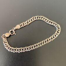 Vintage Solid Silver 925 Double Curb Link Chain Bracelet
