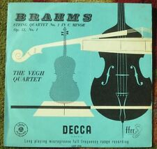 The Végh Quartet - String Quartet No. 1 In C Minor - Brahms -Decca ffrr LXT 2710
