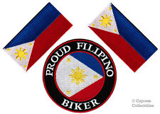 LOT of 3 - PROUD FILIPINO BIKER PATCH PINOY FLAG PHILIPPINES embroidered IRON-ON