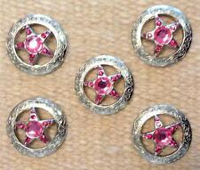"""5-1.5"""" STAR Concho PINK Bling for Headstall Saddle spurs Chaps Saddle Pad Craft"""
