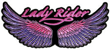 Lady Rider Pink, Purple Wings Embroidered Biker Patch FREE SHIP