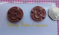 2 Large Cute Shimmering Brown Vintage Art Deco 4 Hole Buttons 28mm Craft Sewing
