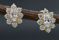JM23 14K Solid Yellow Gold 10mm Flower White Cubic Zirconia CZ Dangle Earrings