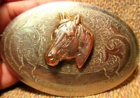Old Possibly Prison Made Horse Head Nickel Silver Marked Western Belt Buckle