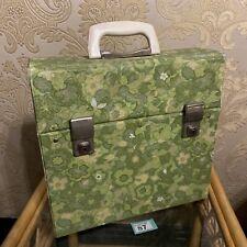 "Vintage Gaudy Green Floral Retro 12"" 45 RPM Record 20x Lp Vinyl carry case RARE"
