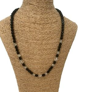 Vintage French Jet Choker Necklace Glass Beads Black Victorian Gothic Jewellery