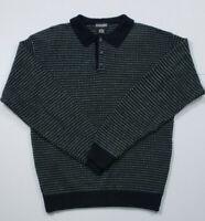 Vintage 1990s Jantzen Blue Striped Collarded Acrylic Sweater Buttons  SZ Large