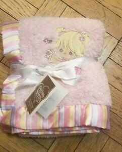 Precious moments pink blanket and hat with satin trim new