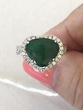 ROMANTIC DARK GREEN HEART SHAPED EMERALD & DIAMOND RING VALUATION $8,500