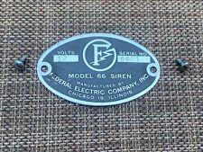 Vintage Federal Electric company model 66 original badge