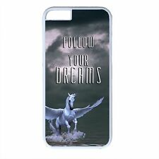 For iPhone 4s 5s 5c 6 6s Plus White Case Cover Pegasus Horse Animal Dream Saying