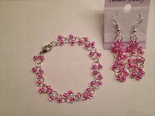 Pretty Pink Czech Glass bead chainmaille bracelet earrings set sterling silver