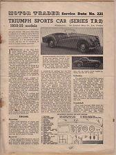 Triumph TR2 1952-55 models Motor Trader Service Data No. 221 1954