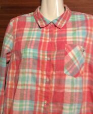 Tommy Hilfiger Long Sleeve Shirt Size SP VGC Plaid Pink Green Blue White