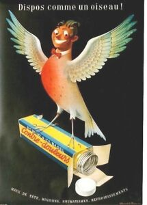 Original vintage poster SWISS PAIN RELIEF BIRD MAN 1944