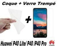 Pour Huawei P40/P40 lite/P40 Pro Coque Souple + Film Protection Verre Trempé