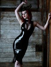 SEXY LADY BLACK FAUX LEATHER OPEN CHEST CLUB MINI BODYCON DRESS SIZE M/8-10 UK