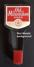 Old Milwaukee Beer Keg Tap Handles Knobs Acrylic NOS Red Metallic LAST ONE!
