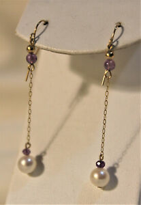 14K Yellow Gold Chain, Pearl and Amethyst Drop Earrings, Lively Action!