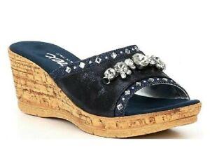 Onex Elyza denim Blue Gem Wedge Cork Heel Sandals Size 7