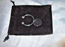 BEAUTY New STERLING Ball-End Horseshoe KEY RING CHAIN + DISK charm MSRP $186
