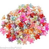 200 Mix Acryl Blumen Spacer Perlen Beads Zwischenteile 1.3cm Top