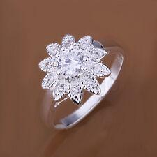 Eternal Love Sunflower CZ Cubic Zirconia Silver Plated Ring JW1324 YG